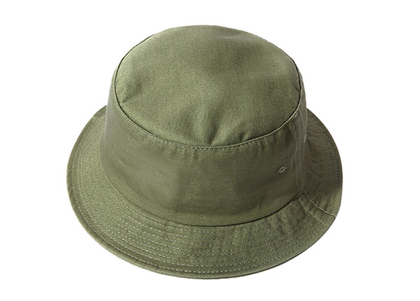 Slant of Blank Cotton Olive Green Bucket Hat