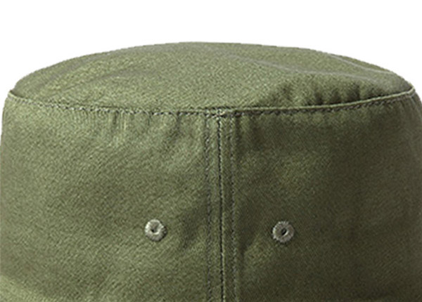 Top of Blank Cotton Olive Green Bucket Hat