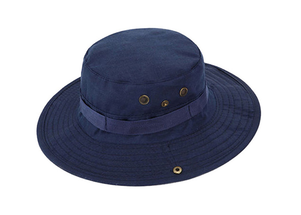 Front of Blank Navy Blue Bucket Hat With String