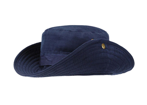 Side of Blank Navy Blue Bucket Hat With String
