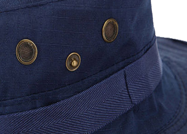 Eyelets of Blank Navy Blue Bucket Hat With String
