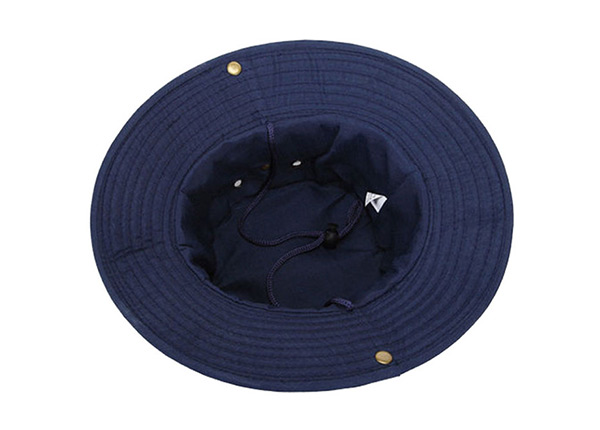 Inside of Blank Navy Blue Bucket Hat With String