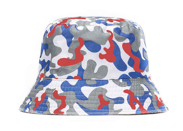 Front of Red White and Blue Camo Short Brim Bucket Hat