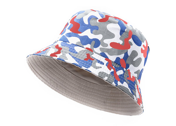 Slant of Red White and Blue Camo Short Brim Bucket Hat