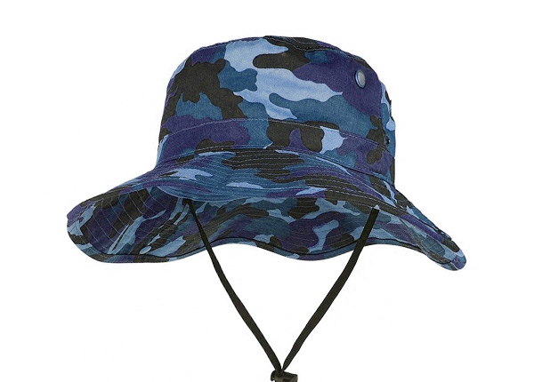 Blue Camo Bucket Hat With String Men's Blank Snap Wide Brim Boonie Hat
