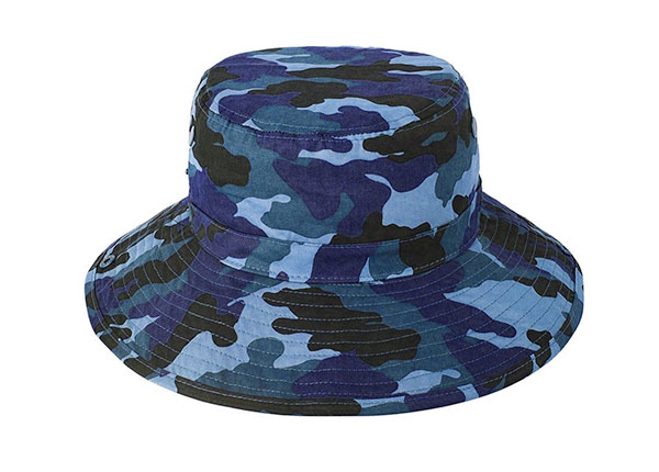 Back of Blank Blue Camo Bucket Hat With String