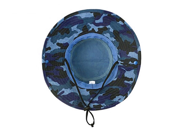 Inside of Blank Blue Camo Bucket Hat With String