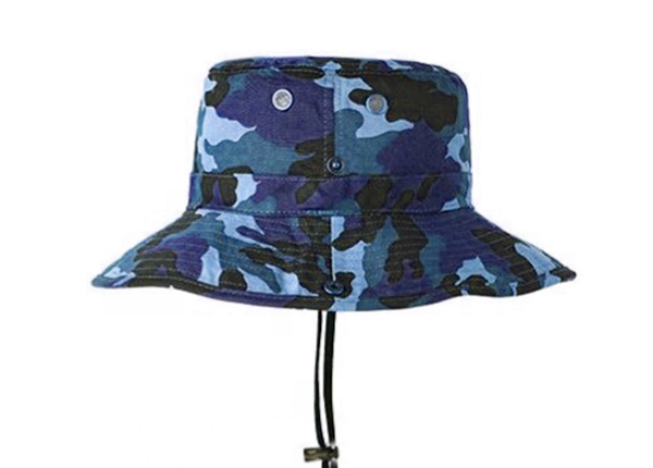 Side of Blank Blue Camo Bucket Hat With String