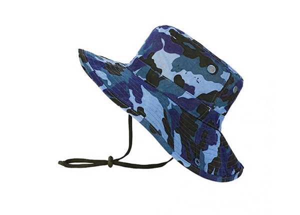 Slant of Blank Blue Camo Bucket Hat With String