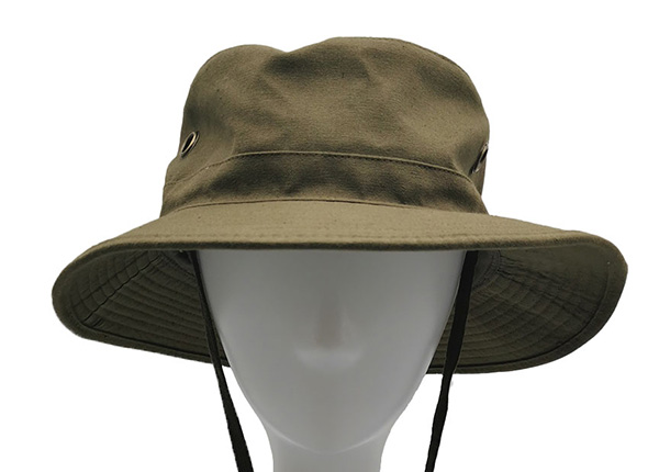 Side of Blank Army Green Canvas Bucket Hat With Strap Blank