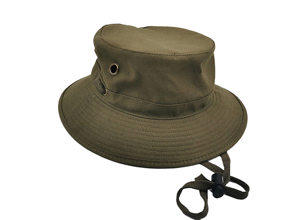 Slant of Blank Army Green Canvas Bucket Hat With Strap Blank