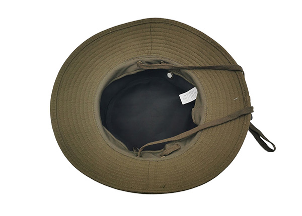 Inside of Blank Army Green Canvas Bucket Hat With Strap Blank