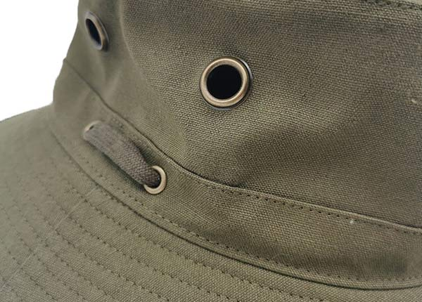 Eyelets of Blank Army Green Canvas Bucket Hat With Strap Blank
