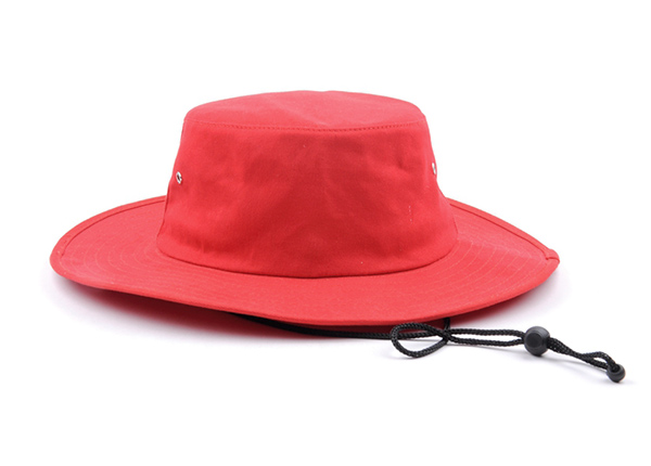 Front of Wide Brim Blank Red Bucket Hat With String