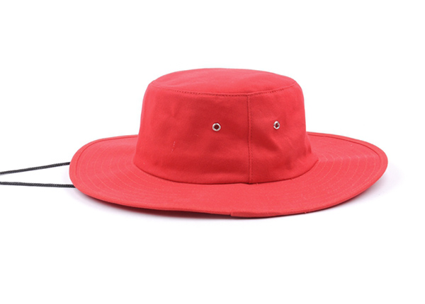 Side of Wide Brim Blank Red Bucket Hat With String