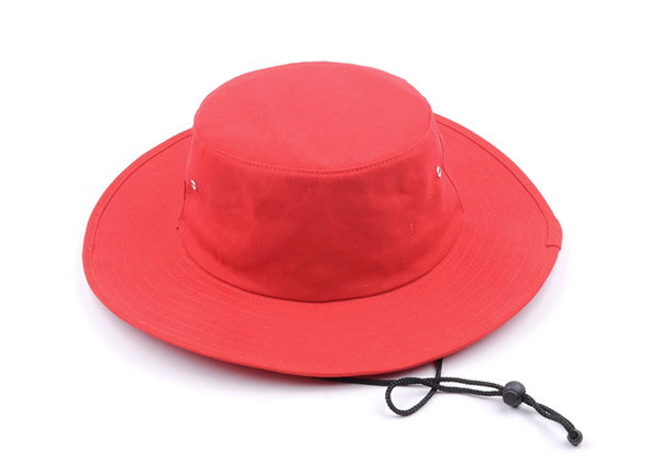 Slant of Wide Brim Blank Red Bucket Hat With String