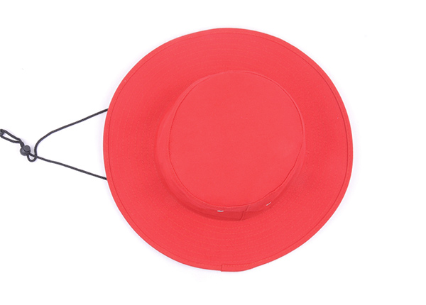 Top of Wide Brim Blank Red Bucket Hat With String