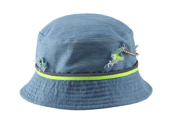 Front of Blank Blue Washed Denim Bucket Hat With a Chain