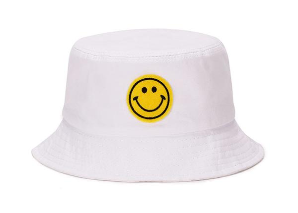 Front of White Smile Emoji Bucket Hat