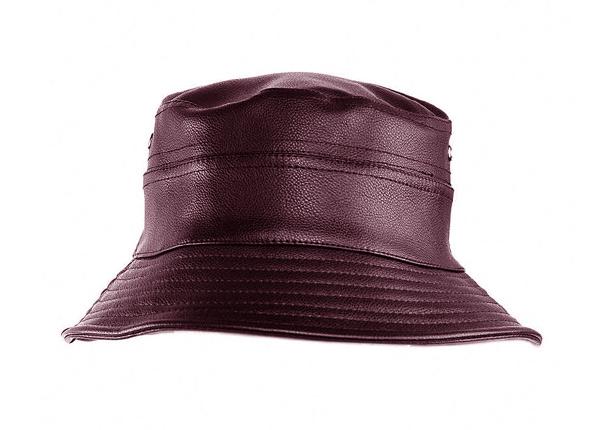 Front of Brown Waterproof Faux Leather Bucket Hat