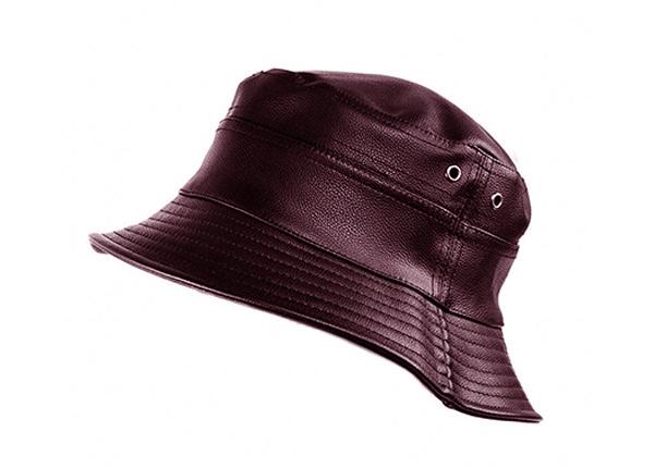 Slant of Brown Waterproof Faux Leather Bucket Hat