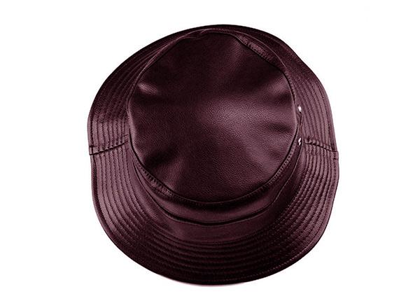 Top of Brown Waterproof Faux Leather Bucket Hat