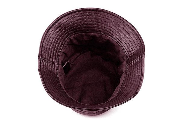 Inside of Brown Waterproof Faux Leather Bucket Hat