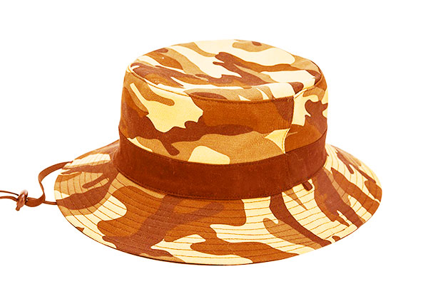 Front of Blank Blaze Orange Camo Bucket Hat