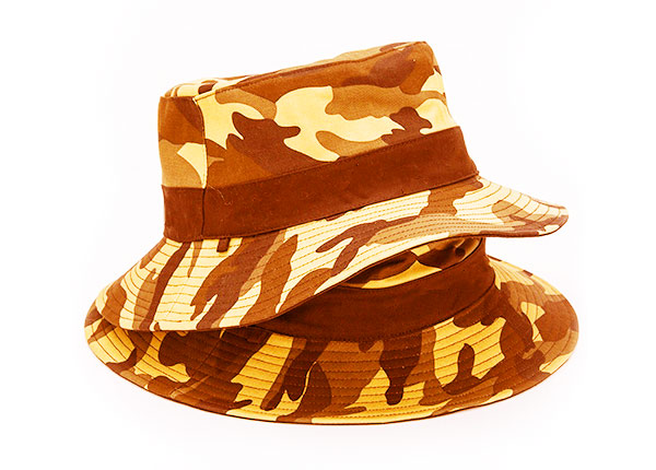 Overview of Blank Blaze Orange Camo Bucket Hat