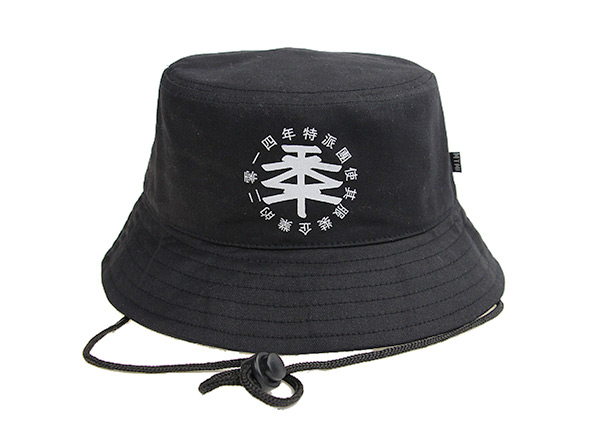 Front of Plain Black Bucket Hat With String