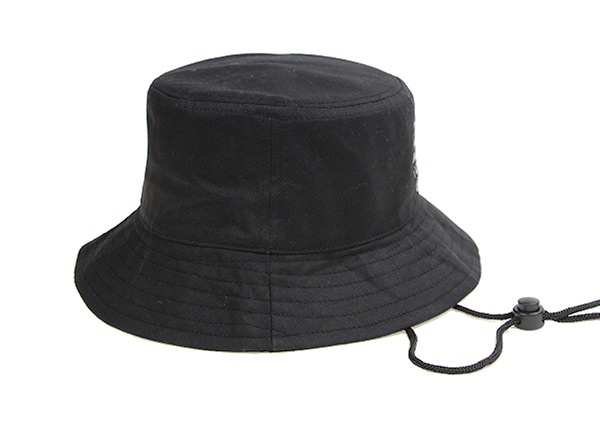 Side of Plain Black Bucket Hat With String