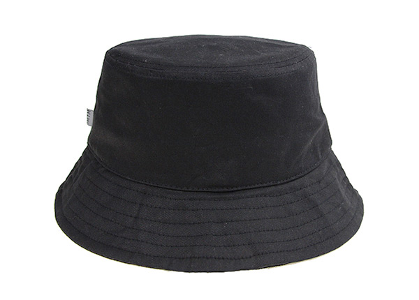 Back of Plain Black Bucket Hat With String