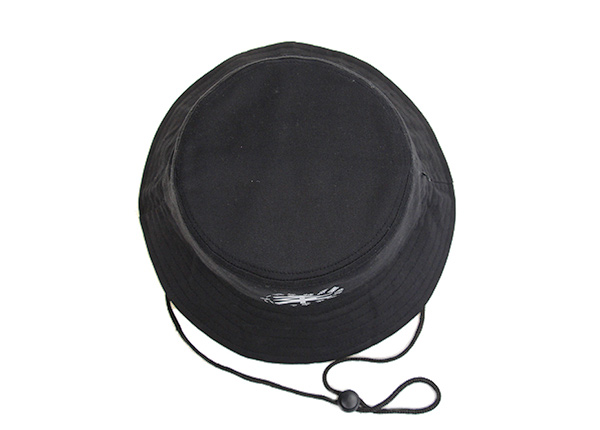 Top of Plain Black Bucket Hat With String