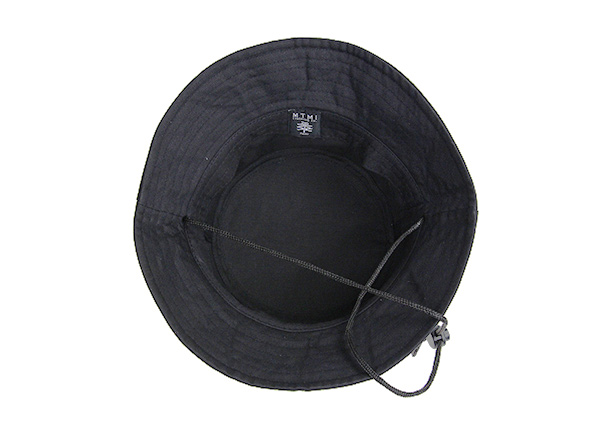 Inside of Plain Black Bucket Hat With String