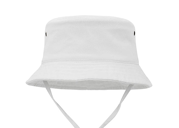 Front of Blank Plain Cotton White Bucket Hat