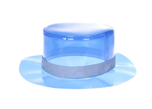 Front of Blank Blue PVC Transparent Bucket Hat