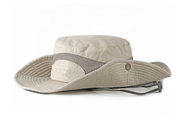 Side of Khaki Wide Brim Vented Bucket Hat