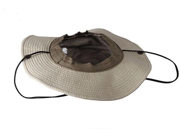Inside of Khaki Wide Brim Vented Bucket Hat