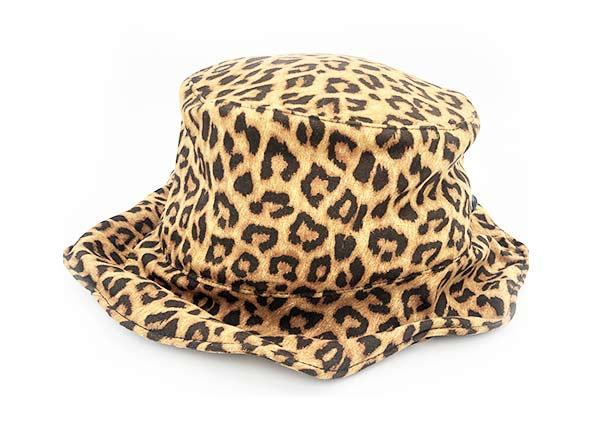 Front of Beige Leopard Printing Wave Bucket Hat