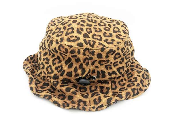 Side of Beige Leopard Printing Wave Bucket Hat