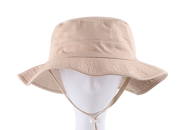 Front of Blank Reversible Cotton Beige Bucket Hat With String