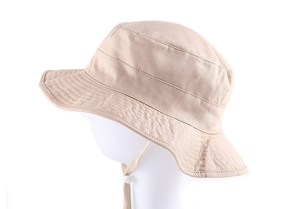 Side of Blank Reversible Cotton Beige Bucket Hat With String