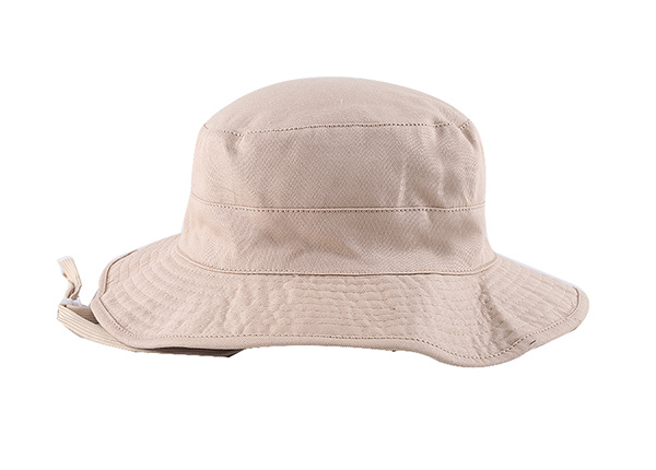 Back of Blank Reversible Cotton Beige Bucket Hat With String