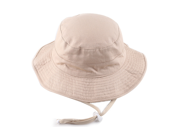 Slant of Blank Reversible Cotton Beige Bucket Hat With String