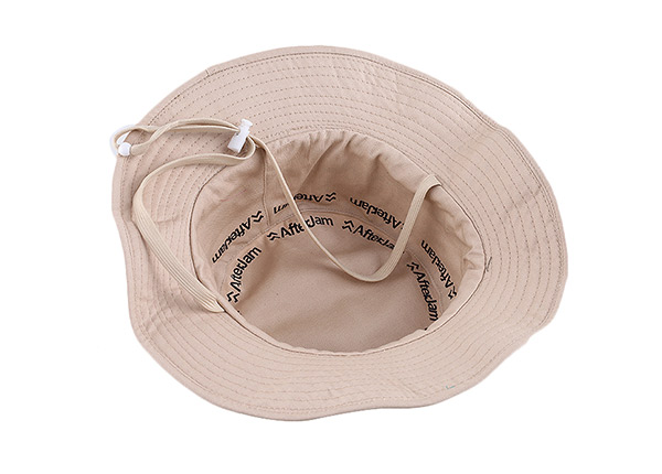 Inside of Blank Reversible Cotton Beige Bucket Hat With String