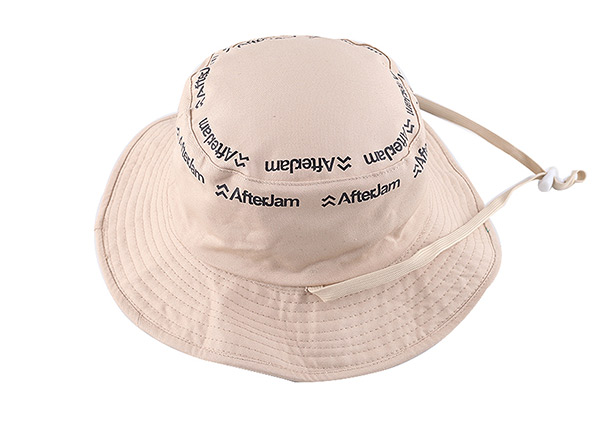 Reversible of Blank Cotton Beige Bucket Hat With String
