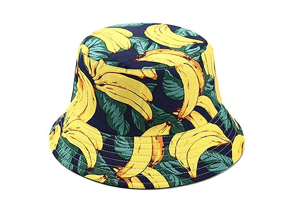 Fruit Print Bucket Hat Banana Pattern Cotton Bucket Hat For Men