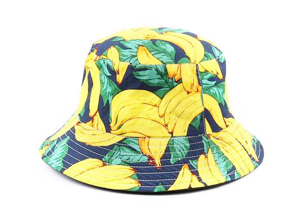 Side of Banana Pattern Printed Cotton Bucket Hat