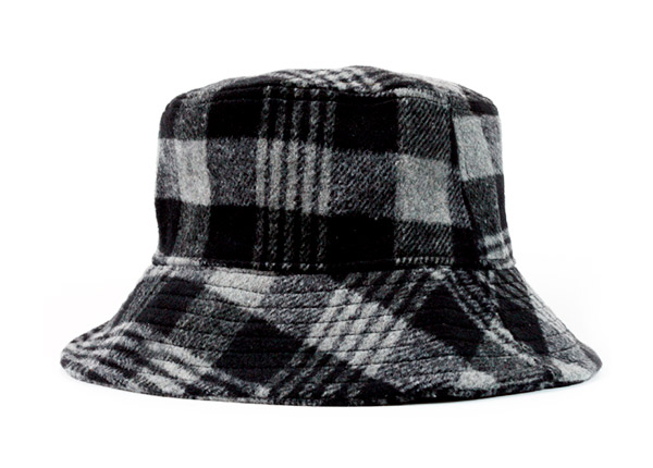 Winter Bucket Hat Black and Grey Wool Hat For Women & Men For Sale