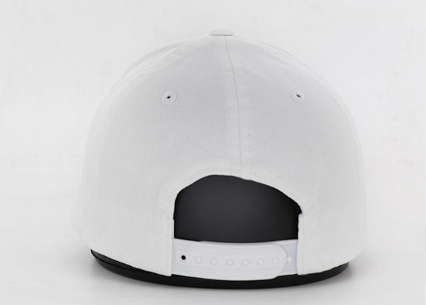 Back of White Bent Curved Brim Snapback